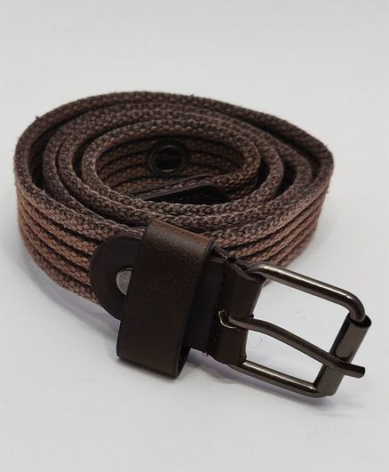 Kid-O-World Ribbed Textured Belt With Buckle Closure - Brown