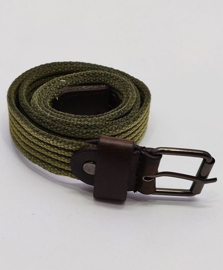 Kid-O-World Ribbed Textured Belt With Buckle Closure - Olive Green