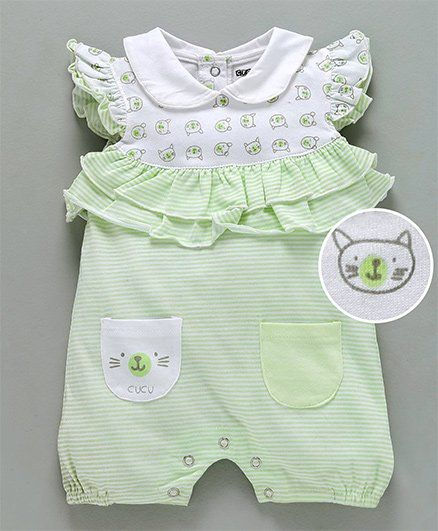 Buy Cucumber Flutter Sleeves Romper Kitty Print White Green for Girls ... 727de94dd