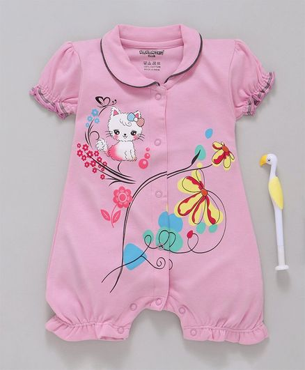 Buy Cucumber Puff Sleeves Romper Kitty Print Pink for Girls (3-6 ... b05c70460