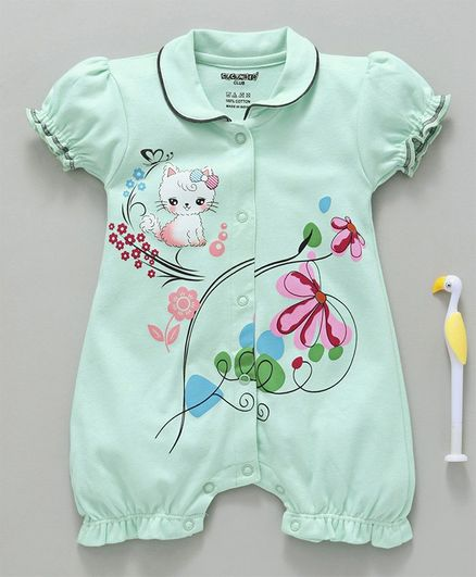 Buy Cucumber Puff Sleeves Romper Kitty Print Sea Green for Girls (12 ... 3a1bd5b53