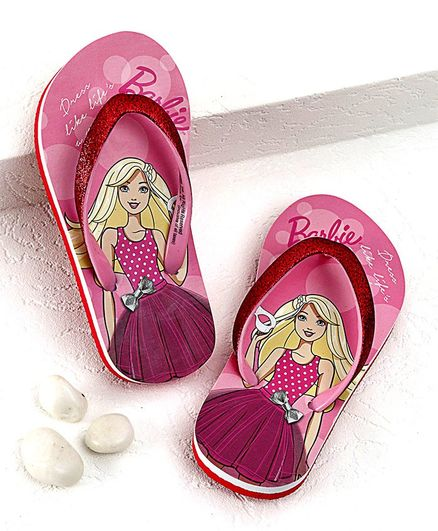 Barbie Flip Flops With Back Strap Party Print - Pink