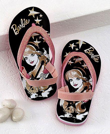 Barbie Flip Flops With Back Strap Star Print - Black