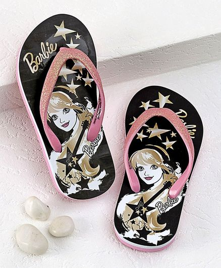 Barbie Flip Flops Star Print - Black