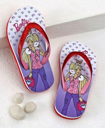 Barbie Flip Flops Paw Print - Purple