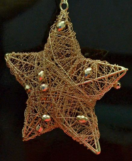 Tangerine Star Shaped Christmas Tree Ornaments Pack Of 2 Rose