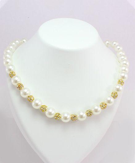 Milyra Pearls & Diamond Balls Necklace - Off White & Golden