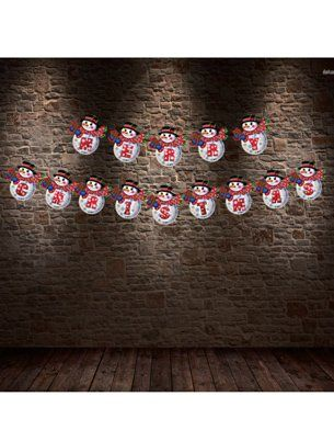 Party Propz Christmas Themed Glitter Party Banner - White Red