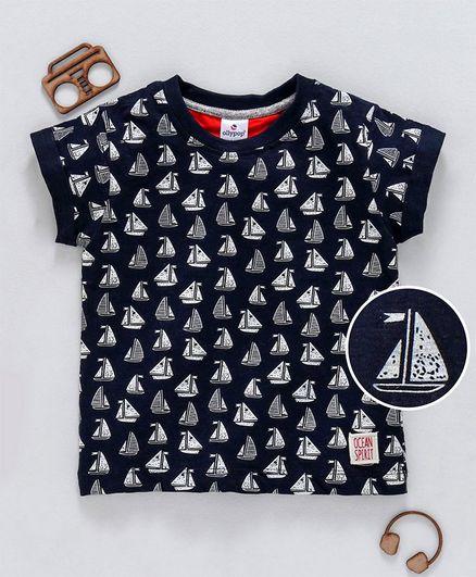 Ollypop Half Sleeves Tee Ship Print - Navy Blue