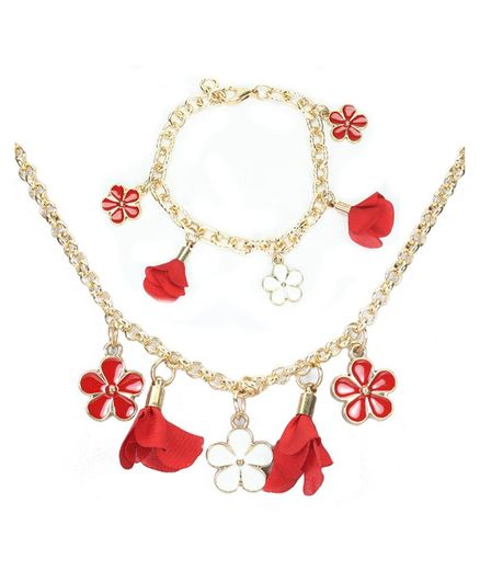 Asthetika Flower Tassels Necklace & Bracelet Set - Red