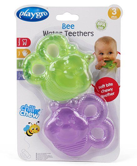 Playgro Water Filled Teether Bee Shape Pack of 2 - Green Purple