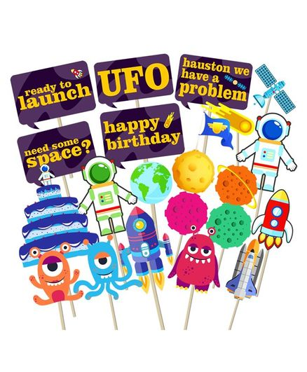 Party Propz Astronaut Photo Booth Props Multicolor - Pack of 21