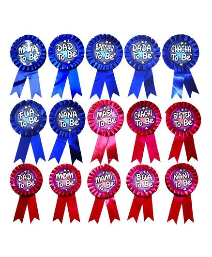 Party Propz Baby Shower To Be Satin Badges Red Blue - Pack of 15