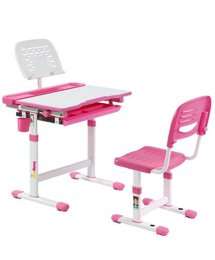 Alex Daisy Pluto Kids Height Adjustable Study Table & Chair - Pink
