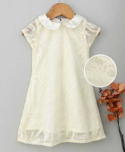 Yellow Duck Short Sleeves Netted Party Wear Frock - Light Yellow