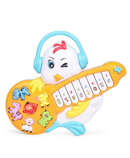 Musical Chicken Shape Piano - White Yellow