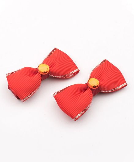 Ribbon Candy Bow Applique Clips - Red
