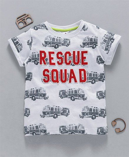 Ollypop Half Sleeves Tee Rescue Squad Print - White