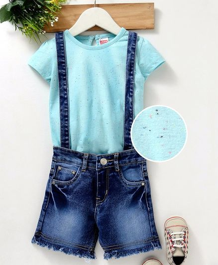 Babyhug Tee & Denim Dungaree Shorts With Attached Suspenders - Sky Blue