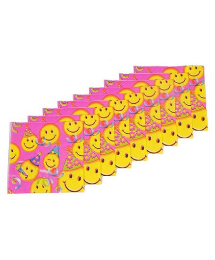 Funcart Smiley Themed Paper Napkins Set of 9 - Pink Yellow