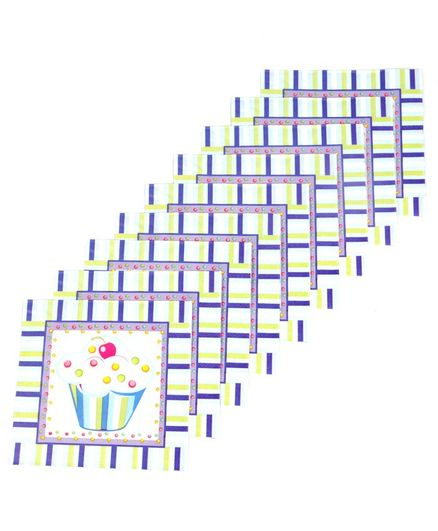Funcart Cupcake Themed Paper Napkins Set of 9 - White Blue