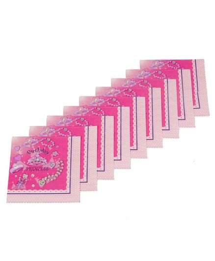 Funcart Birthday Princess Theme Virgin Wood Pulp Napkins Pink - Pack of 9