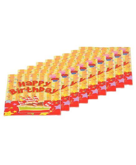 Funcart Happy Birthday Theme Virgin Wood Pulp Napkins Yellow & Red - Pack of 9