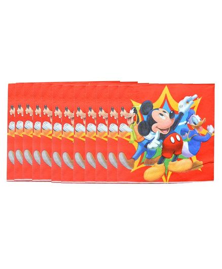 Funcart Mickey Clubhouse Paper Napkin Red - Pack of 12