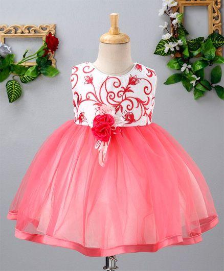 Mark & Mia Embroidery Work Sleeveless Net Dress - Pink