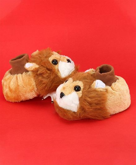 Passion Petals Soft Sole Lion Booties - Brown
