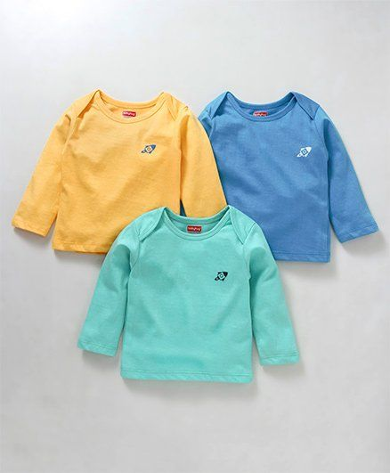 Babyhug Full Sleeves Cotton Tee Rocket Print Pack of 3 - Yellow Blue Green