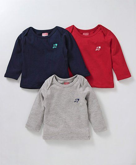 Babyhug Full Sleeves Cotton Tee Rocket Print Pack of 3 - Red Navy Grey