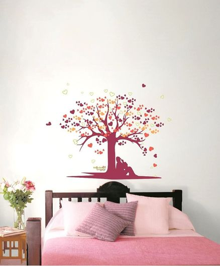 Asian Paints Wall Ons Tree of Love Peel And Stick Wall Stickers - Pink
