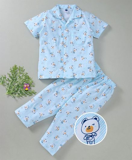 Teddy Half Sleeves Night Suit Bear Print - Light Blue