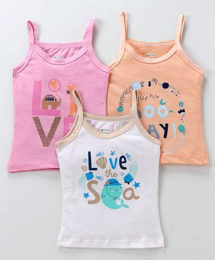 Ohms Sleeveless Slips Love Print Pack of 3 - Multicolor