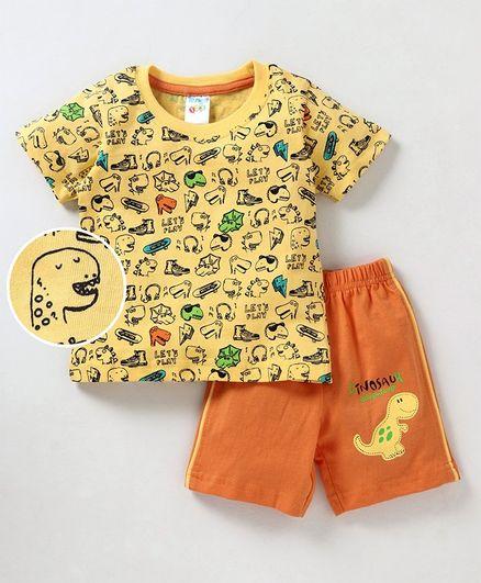 Tango T-Shirt & Shorts Set Dinosaur Print - Yellow & Orange