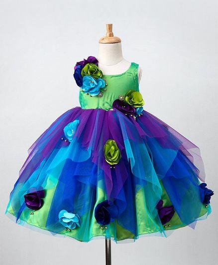 Li&Li Boutique Flower Applique Sleeveless Dress - Multicolor