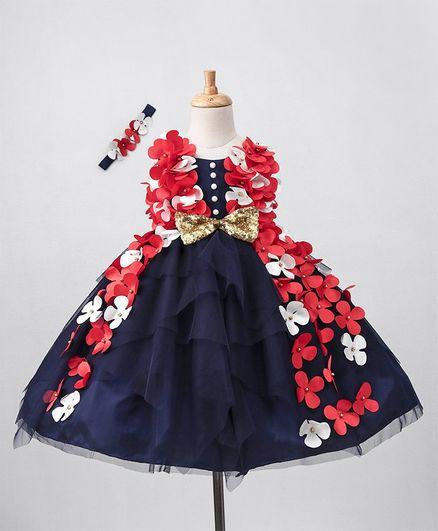 Li&Li Boutique Flowers Trail Work Sleeveless Dress With Headband - Navy Blue