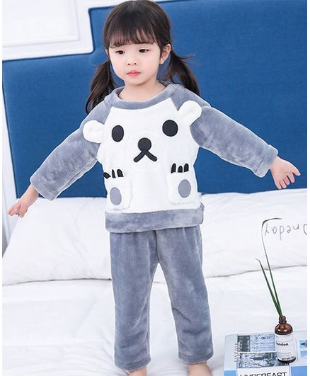 Pre Order - Awabox Bear Applique Full Sleeves Top & Bottom With Front Pocket - Grey