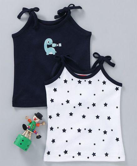 Babyhug Sleeveless Cotton Slip Stars & Dino Print Pack of 2 - Blue White