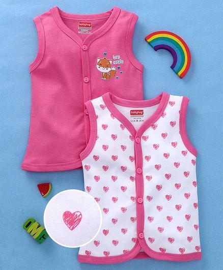 Babyhug Sleeveless Cotton Vests Heart Print Pack Of 2 - Pink White