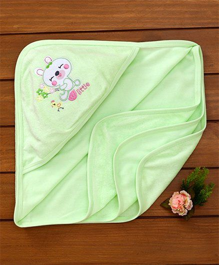 Simply Hooded Towel Embroidered Design - Light Green