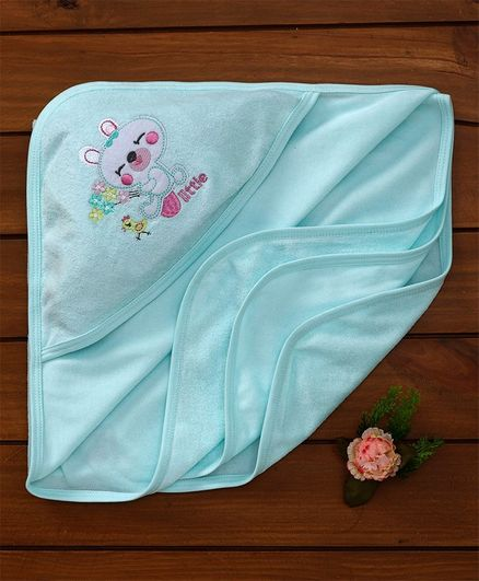 Simply Hooded Towel Embroidered Design - Aqua Blue