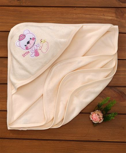 Simply Hooded Towel Embroidered Design - Cream