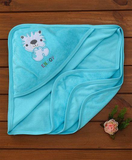 Simply Hooded Towel Animal Embroidery - Aqua Blue