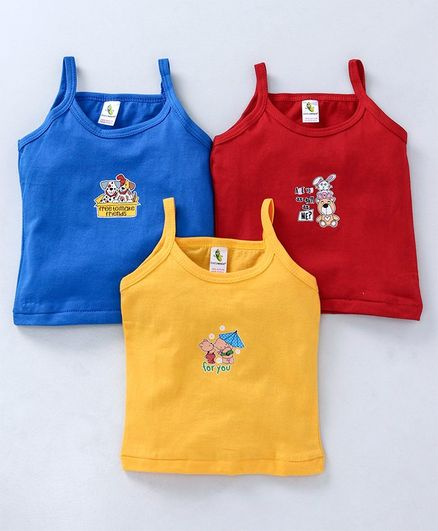 Cucumber Singlet Slips Teddy & Puppy Print Pack of 3 - Royal Blue Yellow Red