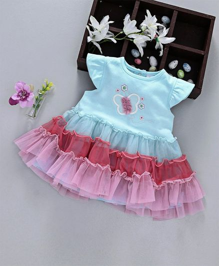 ToffyHouse Short Sleeves Frill Pattern Frock Butterfly Embroidered - Light Blue
