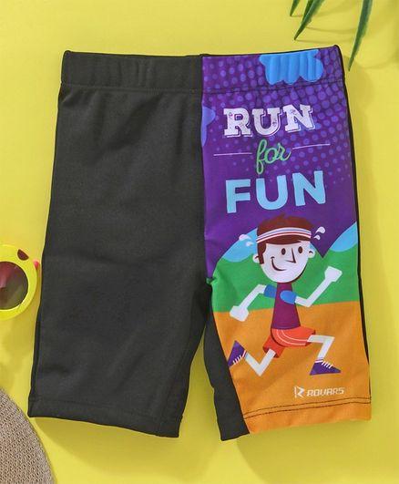 Rovars Swimming Trunks Run & Fun Print - Black & purple