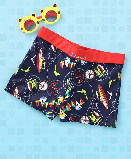 Rovars Swimming Trunks Boat & Bird Print - Blue & Red