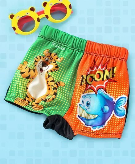 Rovars Swimming Trunks Tiger & Fish Print - Green & Orange